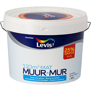 Levis Muurverf Mat Wit 8+2 Liter